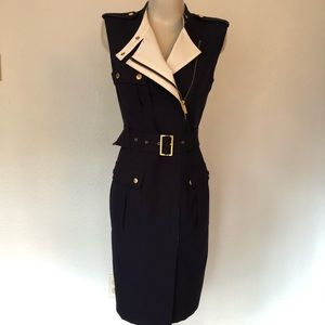 Navy belted, angle zip dress